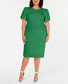 Plus Size Puff-Sleeve Sheath Dress