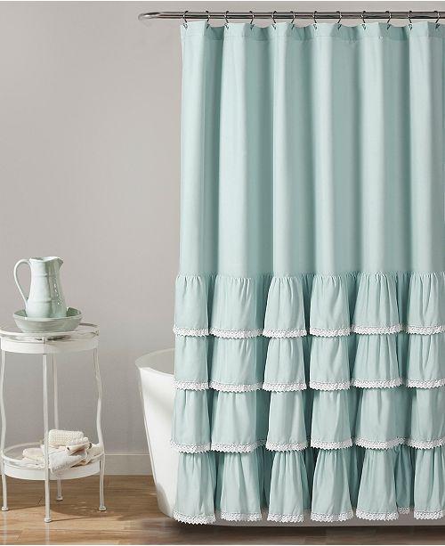 """Lush Decor Ella Lace Ruffle 72"""" x 72"""" Shower Curtain"""