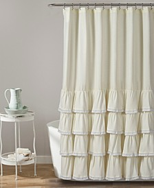 "Ella Lace Ruffle 72"" x 72"" Shower Curtain"