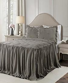 Ravello Pintuck Ruffle Skirt 3Pc Queen Bedspread Set