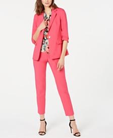 Calvin Klein Ruched-Sleeve Jacket, Printed Blouse & Skinny Pants