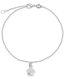 Rose Charm Chain Ankle Bracelet in Sterling Silver