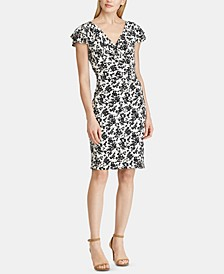 Petite Floral-Print Flutter Cap-Sleeve Dress