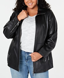 MICHAEL Michael Kors Plus Size Leather Jacket