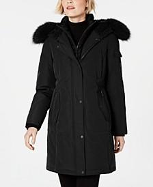 Fox-Fur-Trim Hooded Parka