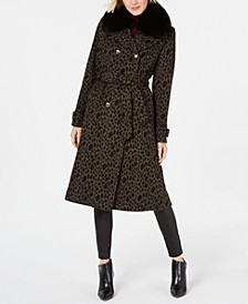 Leopard-Printed Fox-Fur-Collar Coat