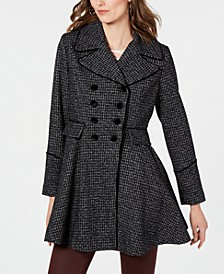 Velvet-Trim Double-Breasted Skirted Plaid Coat