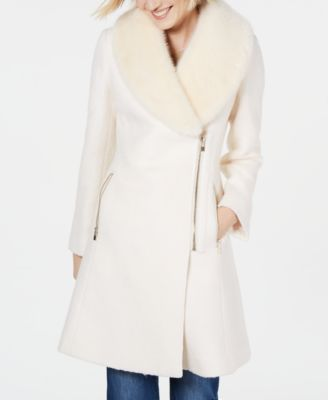 Inc International Concepts Ivory Faux-Fur-Trim Asymmetrical Walker Coat XS