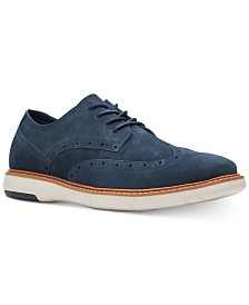 Clarks Men's Draper Wingtip Navy Suede Casual Lace-Up Shoes