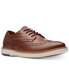Clarks Men's Draper Wingtip Tan Leather Casual Lace-Up Shoes