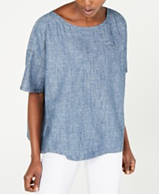 Eileen Fisher Organic Ballet-Neck Short-Sleeve Top, Regular & Petite
