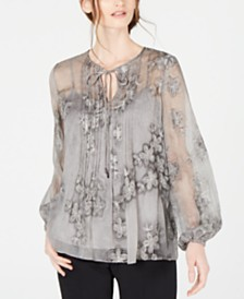 Elie Tahari Hallie Embroidered Sheer Chiffon Blouse