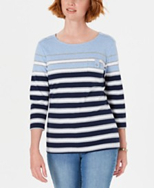 Karen Scott Petite Serena Striped Pocket Top, Created for Macy's