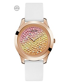 Women's Rose Gold-Tone and White Silicone Watch Embellished with Crystals from Swarovski® 42 MM