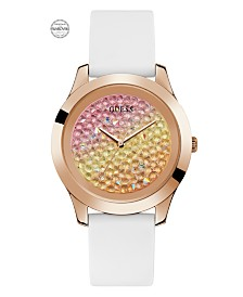 Guess Women's Rose Gold-Tone and White Silicone Watch Embellished with Crystals from Swarovski® 42 MM