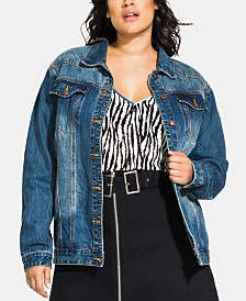 City Chic Trendy Plus Size Vintage-Inspired Boyfriend Jean Jacket