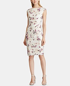 Petite Floral-Print Cap-Sleeve Jersey Dress