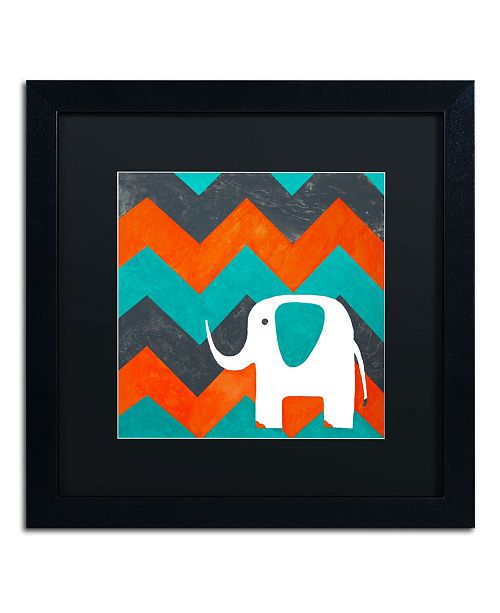 "Trademark Global Nicole Dietz 'Elephant on Chevron' Matted Framed Art - 16"" x 16"""