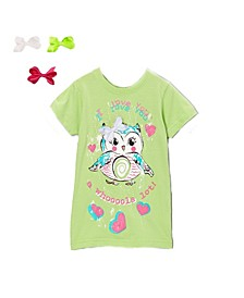 Little and Big Girls Interchangeable Bow 3D Graphic Owl Top