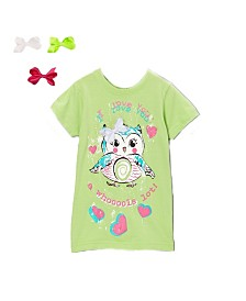 Interchangeable Bow 3D Graphic Owl Top