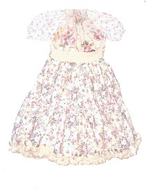 Big Girls Peasant Dress with Cream Sash