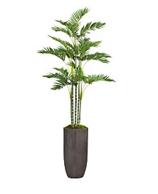"Laura Ashley 82.25"" Tall Palm Tree Artificial Faux decor in Resin Planter"