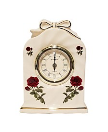 Golden Bell Ceramic Silent Non-Ticking Roman Numeral Rose Desk Alarm Clock