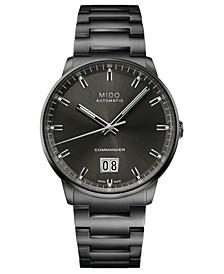 Men's Swiss Automatic Commander Big Date Black PVD Stainless Steel Bracelet Watch 42mm