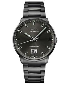 Mido Men's Swiss Automatic Commander Big Date Black PVD Stainless Steel Bracelet Watch 42mm