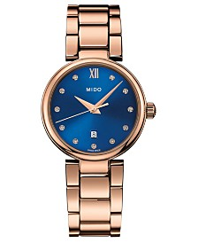 Mido Women's Swiss Baroncelli Donna Rose Gold-Tone PVD Stainless Steel Bracelet Watch 29mm