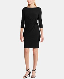 Lauren Ralph Lauren Cowlneck 3/4-Sleeve Jersey Dress