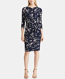 Floral-Print Cowlneck Jersey Dress, Regular & Petite Sizes