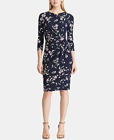 Lauren Ralph Lauren Floral-Print Cowlneck Jersey Dress, Regular & Petite Sizes