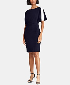 Contrast-Band Short-Sleeve Jersey Dress
