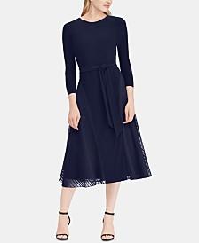 Lauren Ralph Lauren Satin-Trim Midi Fit & Flare Dress