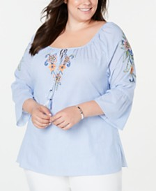Alfred Dunner Plus Size Lake Tahoe Cotton Embroidered Peasant Top