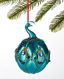 Midnite Blue Peacock Ball Ornament, Created for Macy's
