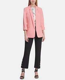 DKNY Open-Front Jacket, Floral-Print Ruffled Blouse & Skinny Ankle Pants
