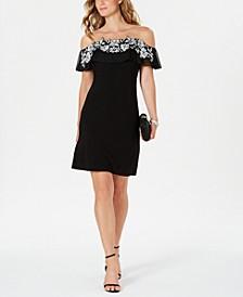 Petite Illusion Off-The-Shoulder Dress
