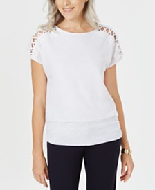 JM Collection Banded Lattice Top, Created for Macy's
