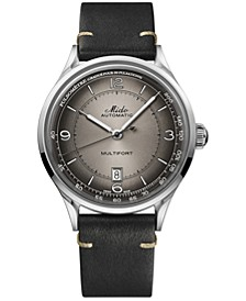 Men's Swiss Automatic Multifort Patrimony Pulsometer Black Leather Strap Watch 40mm