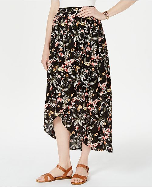 Style & Co Printed High-Low Skirt, Created for Macy's