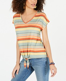 Style & Co Striped Tie-Hem T-Shirt, Created for Macy's