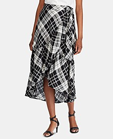 Plaid-Print Ruffled Skirt