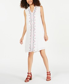 Style & Co Petite Embroidered Dress, Created for Macy's
