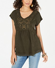 Cotton Embellished Trim Top, Created for Macy's