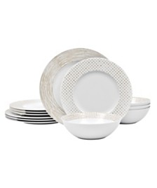 Noritake Hammock  Rim 12 Piece Dinnerware Set, Created for Macy's