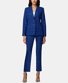 Tahari ASL Peak-Lapel Plaid Blazer