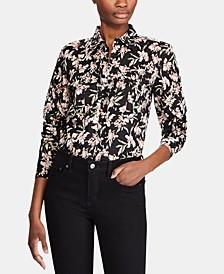 Floral-Print Button-Down Cotton Shirt