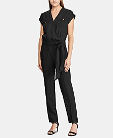 Lauren Ralph Lauren Roll-Tab Short-Sleeve Jumpsuit